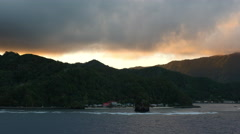 American Samoa evening view of coast under clouds 4k Stock Footage