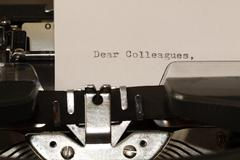 Text Dear Colleagues typed on old typewriter Stock Photos