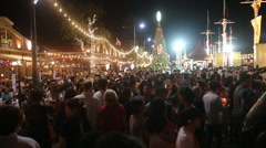 Huge crowd at Christmas festival Stock Footage