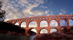 Low angle time lapse of The Pont du Gard Stock Footage