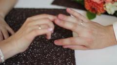 Bride and groom flirting Stock Footage