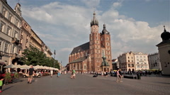 SAINT MARY'S MARIACKI CHURCH & CITY SQUARE, KRAKOW, POLAND Stock Footage