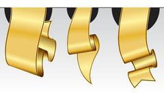 Gold ribbon collection Stock Illustration