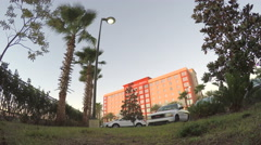 4K Florida hotel in early morning sun Stock Footage