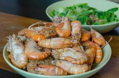 asian baked shrimp - stock photo