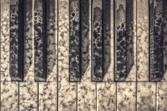 Close up of old piano - stock photo