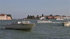 RIVER TAXI & SAN GIORGIO, MAGGIORE CHURCH, VENICE, ITALY Stock Footage