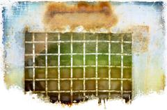 Grunge metallic grate background - stock illustration