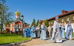 The annual sacred religious procession of Icon of Our Lady of Iver Stock Photos