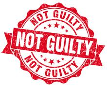 not guilty red grunge seal isolated on white - stock illustration