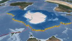 Antarctic tectonic plate extruded. Blue Marble. Enhanced version Stock Footage
