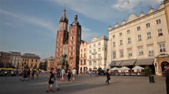 SAINT MARY'S MARIACKI CHURCH & KRAKOW, POLAND Stock Footage