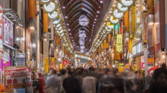 Time lapse of frenzied new years shopping traffic in Nakano Tokyo January 2015 Stock Footage