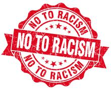 no to racism red grunge seal isolated on white - stock illustration