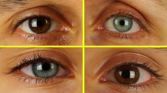 Four Different Human Eyes Look in a Circle Stock Footage