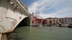 BOATS ON GRAND CANAL & RIALTO BRIDGE, VENICE, ITALY Stock Footage