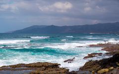Coast on the volcanic island Stock Photos