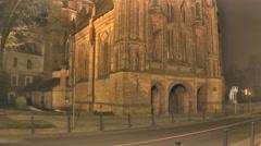 Night Vilnius. Medieval Church Stock Footage