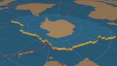 Antarctic tectonic plate extruded. Solids. Enhanced version Stock Footage