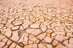 Cracked soil during drought Stock Photos