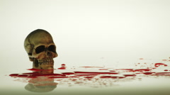 SKULL, BLOOD & A HYPODERMIC SYRINGE Stock Footage