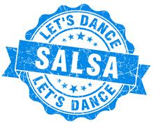 salsa dance blue grunge seal isolated on white - stock illustration