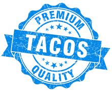 tacos blue grunge seal isolated on white - stock illustration