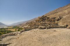 Temple ruins in Tajikistan - stock photo