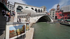 GONDOLA'S ON GRAND CANAL & RIALTO BRIDGE, VENICE, ITALY Stock Footage