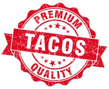 Tacos red grunge seal isolated on white Stock Illustration
