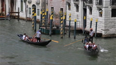 GONDOLA'S FROM RIALTO BRIDGE, VENICE, ITALY - stock footage