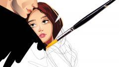 Romance with white Screen cartoon illustration hand drawn animation transparent Stock Footage