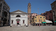 THE LEANING TOWER OF CHIESA DI SANTO STEFANO, VENICE, ITALY Stock Footage