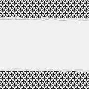 Black and White Fleur-De-Lis Frame with Torn Background Stock Illustration