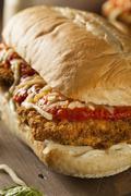 Hearty Homemade Chicken Parmesan Sandwich - stock photo