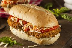 Hearty Homemade Chicken Parmesan Sandwich Stock Photos