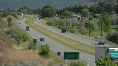 Trans-Canada Highway with traffic east of Kamloops Long shot Stock Footage