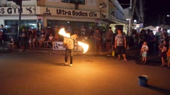 Fire Juggler Performing on the Street in Thailand Stock Footage