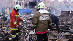 Burned Kiev. Revolution Euromaidan Stock Footage