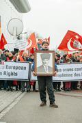 Armenian and Turkey diaspora protesting Stock Photos