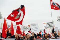Armenian and Turkey diaspora protesting - stock photo