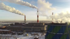 Coal-Burning Power Plant. Aerial. Stock Footage