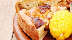 Baked food : apple pies on plate and lemon Stock Footage