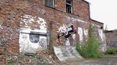 BMX Crash - Wallride side of building -Extreme Sports Stock Footage
