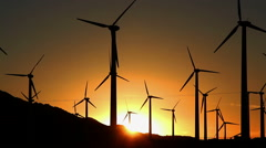 Footage - Wind Turbines with Sunset at the background Stock Footage