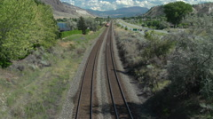 Railroad, freight train WS overhead angle, Union Pacific AC4400 head end power Stock Footage