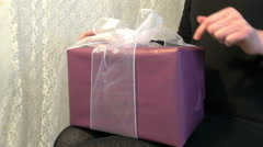 Unpacking a gift 4K Stock Footage