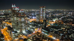 4k panoramic time lapse taken from a high vantage point in Shinjuku Tokyo Japan - stock footage
