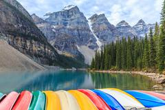 Moraine Lake in Banff National Park, Alberta, Canada Stock Photos