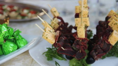 Basturma and cheese on skewers Stock Footage